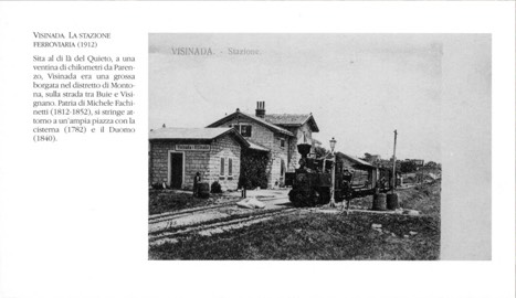 Black and white photo of the train station in Vizinada